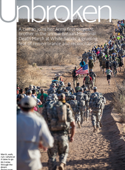 Unbroken article cover - U.S. troops running through dessert