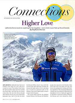 Higher Love article cover - woman on top of mountain